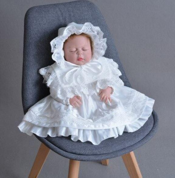 RSS Communion Christening White Dress for Newborn Girls White Bonnet READY FOR SHIPPING 2 Days
