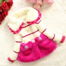 FREE SHIPPING 18 Months Striped Hot Pink Trench Coats for Girls Pink Winter Jackets w/ Pockets