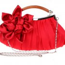 Red Evening Clutch Wooden Handle Red Make Up Bags READY to SHIP Red Medium Purses for Women
