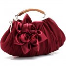 Evening Bags Wooden Handle Burgundy Make Up Bags READY to SHIP Floral Silk Red Purses for Women