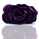 Eggplant Color Purple Roses Black Silk Evening Bags READY to GO Purple Purses for Women