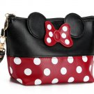 READY TO SHIP Red Make Up Pouch Minnie Mouse Ears Polka Dots Purses for Women