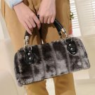Hand Carry Airport Gray Bags Faux Rabbit Fur Bags Softer Gray Velvets FREE SHIPPING Tote Bags