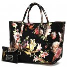 Ready to Go Black Large Bags Silk Floral Black Leather Bags FREE SHIPPING Womens Leather Bags