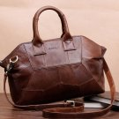 ON SALE Real Leather Brown Bags Patchwork Durable Sewing Traveling Bags Crossbody Bag Leather Bags