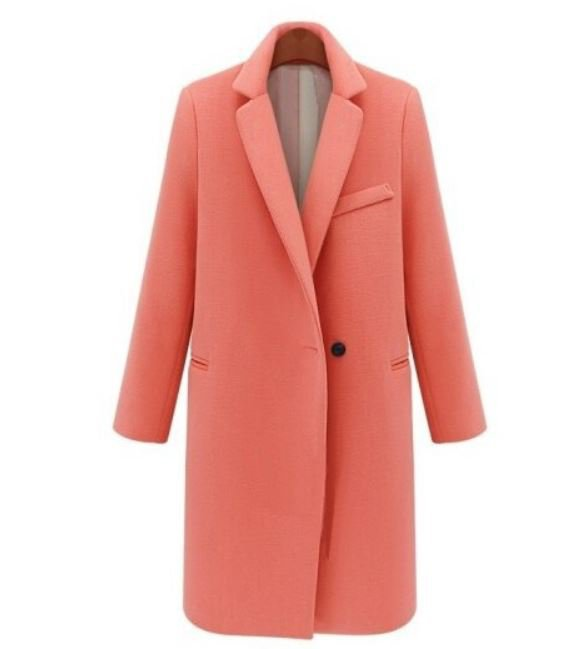 Orange Long Thick Blazers Ready for Shipping Orange Over Coats for Women Wool