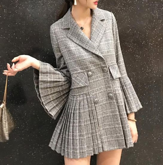 Houndstooth Blazers for Women Pleated Gray Blazers High Quality Plaid Jackets for Women