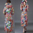 Large Size Warm Hooded Cotton Duck Down Thick Cozy Colorful Winter Coats Snow Parkas for Women