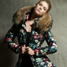 Black Parka for Women Floral Warm Cotton Duck Down Removable Collar Winter Coats for Women