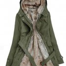 Separable Fur Lining Green Parka for Women Cotton Duck Down Hooded Winter Jackets for Women