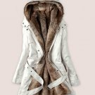Separable Fur Lining Medium Size Off White Parkas READY TO GO Hooded Winter White Jackets for Women