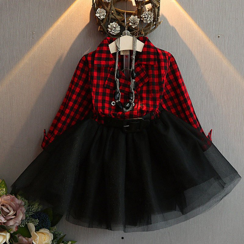 5t Red Checkered tops with Black Tulle Tutu Dress READY Plaid Dress Fall, Thanksgiving Outfit