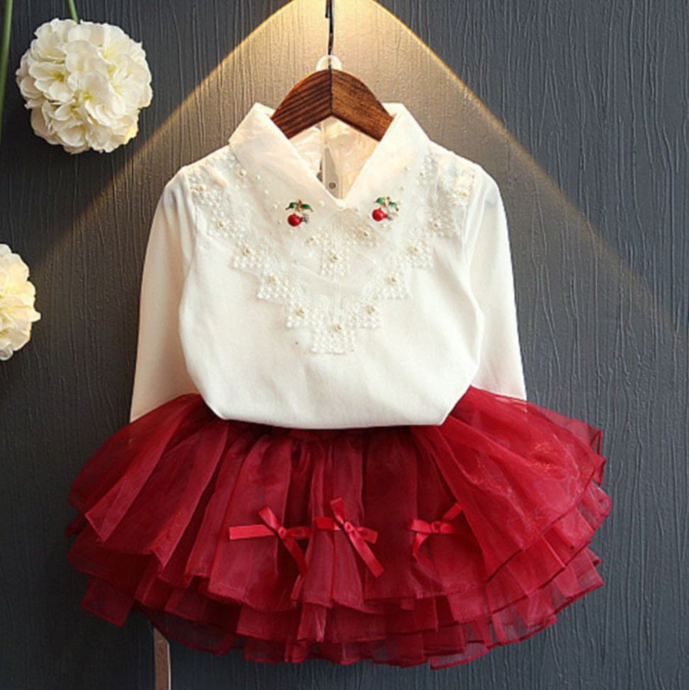 Rsslyn SALE! Baby Girls Set Off White Tops and Red Wine Skirt