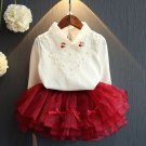 Burgundy Set for Girls 12-24 Months White Tops with Peter Pan Collar and Burgundy Skirts