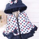 12-24mos Navy Blue Minnie Mouse Jackets Hooded Polka Dots READY TO SHIP Girls Winter Jackets