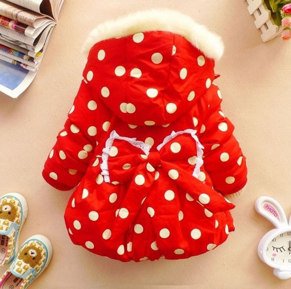 SALE! 12-24mos Girls Parkas Red Christmas Jackets for Girls with Big Bow Hooded Polka Dots Jackets