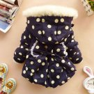 SALE! 12-24mos Girls Parkas Navy Blue Jackets for Girls with Big Bow Hooded Polka Dots Blue Jackets