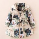 READY 3t Girls Parka Beige Jackets for Girls Cotton Duck Down Hooded Snowy Printed Floral Jackets