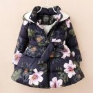 READY 5-6t Girls Parka Navy Blue Winter Coats Toddler Girls Hooded Snow Parka Printed Floral Jackets