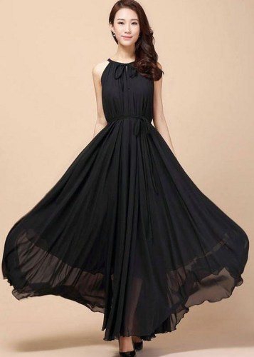 Black Dress for Women FREE SHIPPING Fluent Mid-calf Dress for Womens Spaghetti Black Maxi Dress