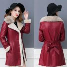 Size M Sheepskin Leather Jackets for Women Burgundy Overcoats Ready to Ship Red Winter Coats
