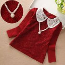 Burgundy Blouse with Removable Pearl Necklace Girls Long Sleeve Cotton Red Tops for Girls