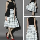Printed Music Notes Fashion Skirts for Women White Skirts for Women Ready for Shipping
