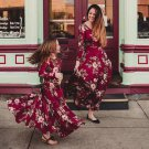 Mother and Daughter Dress Red Maxi Dresses Printed Floral Dresses Long Sleeve Silk Milk Texture