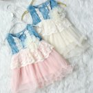 Ivory Tutu Dress for 3t Girls Ready to Ship Cowgirl Wedding Barn Theme Laced Waist Girls Denim Dress