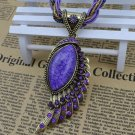 Purple Angel's Wings Big Stone Pendant Fashion Purple Necklaces for Women Jewelries for Women