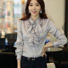 Pretty Silver Blouses for Women Ruffled Gray Tops for Women is READY TO SHIP Long Sleeves