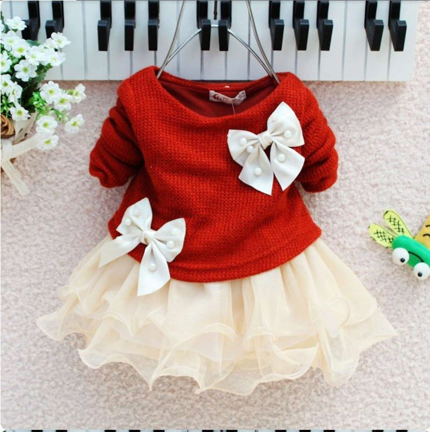 Beautiful Red Dress for Newborn Girls Ready to Ship Long Sleeve Birthday Red Party Dress for Girls