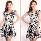 Printed White Dress Silk Milk Texture Tea Dress Spring Dress for Women Printed Black Berries