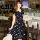 Teenage Girls Black Polka Dots Tea Dress Short Sleeves Dress for Women Silk Summer Dresses