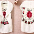 SALE Crochet White Cardigan for Women Vest Very Soft Cashmere and Mohair Crochet Pink Floral