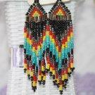 Ready to Ship V-Victor Long Tribal Earrings Beaded Earrings Layered Black Earrings for Women
