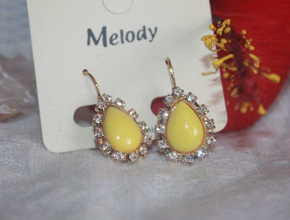 Pretty Yellow Earrings for Women READY TO GO Rhinestone Drop Earrings with Leverback Hoop Lock