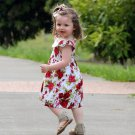 3-6 Months Newborn Dress Floral Dress for Summer READY TO SHIP Red Dress with Peter Pan Collar
