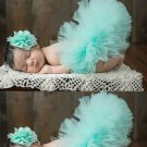 Free Ship 0-3 Months Baby Blue Skirts for Newborn Girls FREE SHIPPING Lovely Matching Baby Headbands
