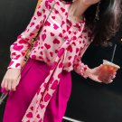 pink heart pattern tops is ready for shipping hotpink blouses for women long bowtie