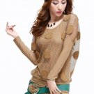 SALE Light Brown Sweater for Women Fashion Sheer Sleeves Polka dot Blouses