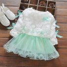 18 Months Infant Dress Mintgreen Tutu Dress with Matching Hollow Out White Lacy Cardigan