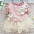 18 Months Pink Dress with Cream Color Tulle Free Shipping Pink Tutu Dress