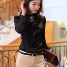 New Black Blouses for Women Classic Style  Ruffled Mandarin Collar Black Office Work Tops
