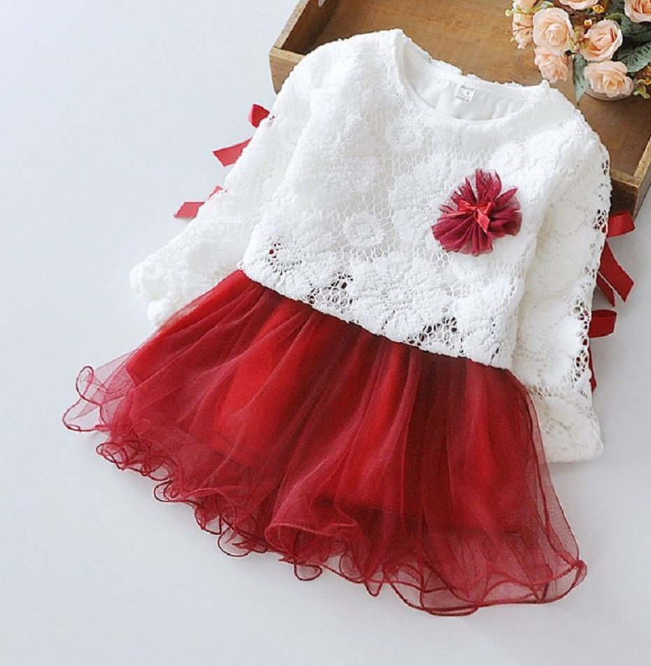 New Item Lacy Red Dress Hollow Out White Cardigan with matching Red Wine Color Tutu Dress