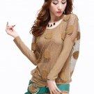 SALE Medium Size Blouses for Women Fashion Sheer Sleeves Polka dot Blouses for Women