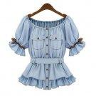Denim Blouses for Women Vintage Ruffled Sleeves with Denim Belt