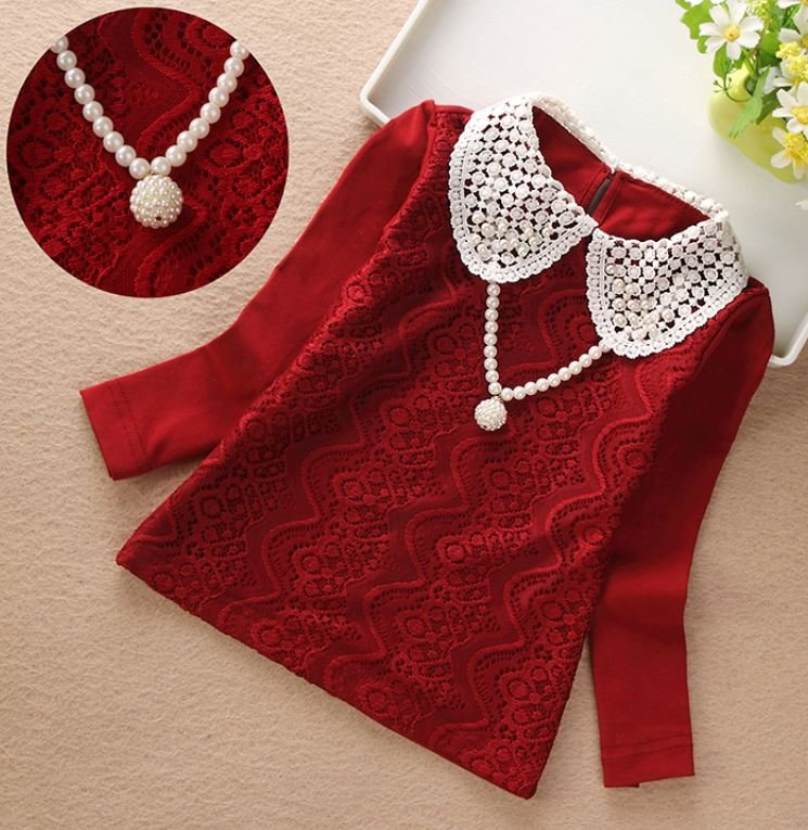 Merry Christmas SALE Lacy Tees Red Blouse for Newborn Girls High Quality Cotton Red Tops for Girls