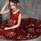 Merry Christmas SALE Red Floral Dress for Toddler Girls with Detachable Golden Corsage