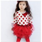 Merry Christmas SALE Matching Set 3t Red Leggings with Pretty Long Sleeve White Tees